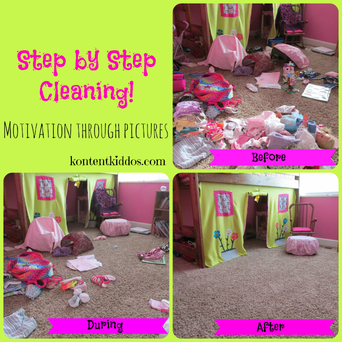 Cleaning motivation for children through pictures
