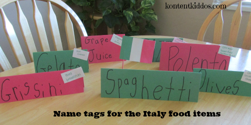 Italy food item name tags
