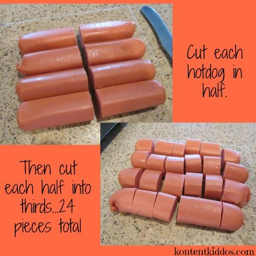 cut hotdogs