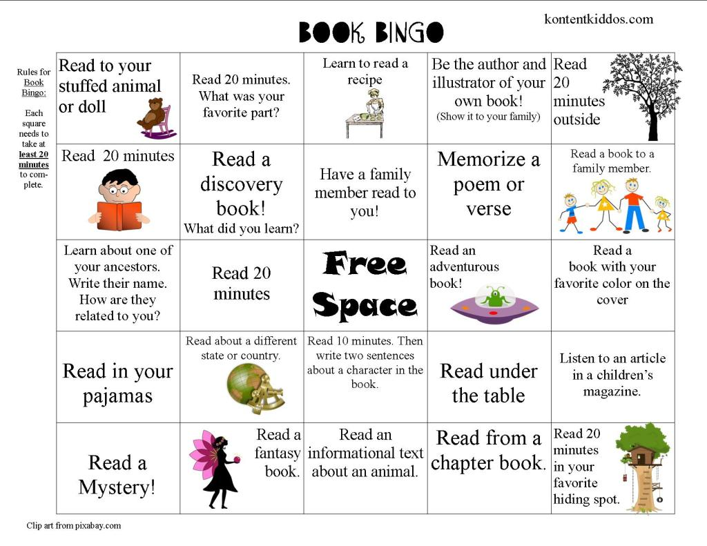 Pre-K to First Grade Book Bingo