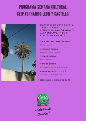 PROGRAMA DÍA MARTES 28 DE MAYO - SEMANA CULTURAL DÍA DE CANARIAS
