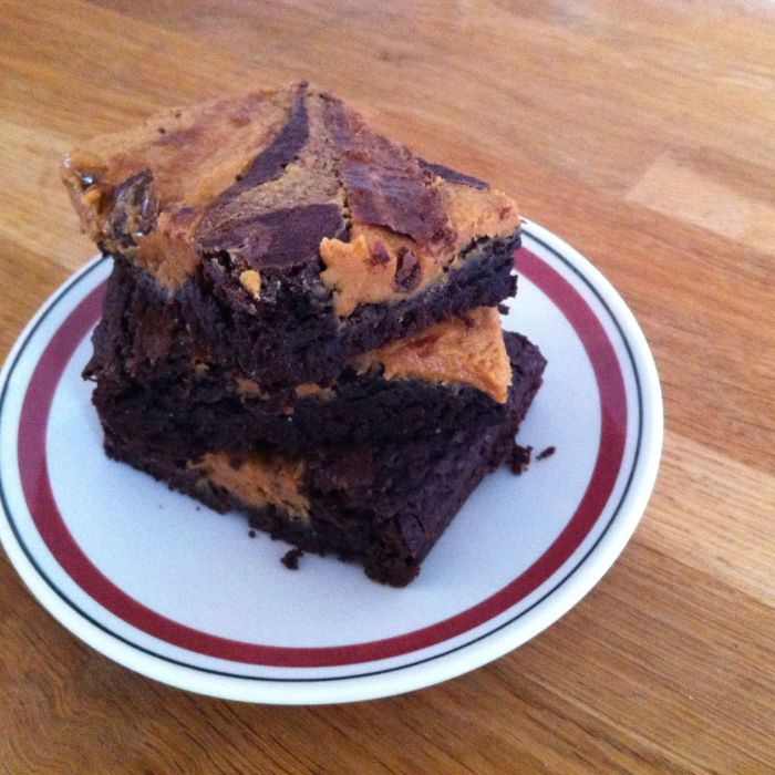 Brownies met pindakaasfudge