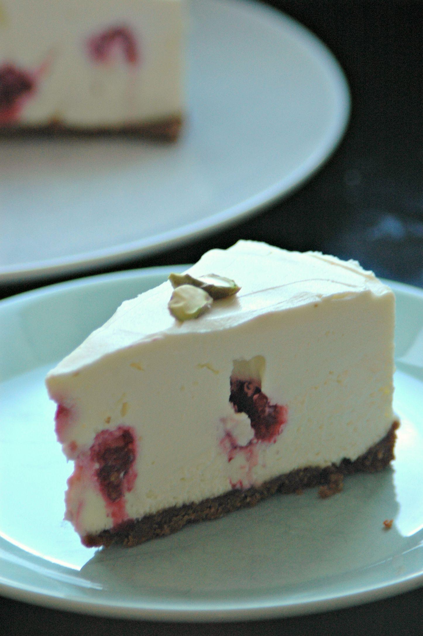 Witte chocolade cheesecake met frambozen