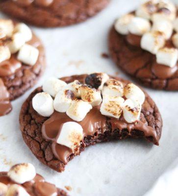 brownie met gesmolten chocolade en marshmallow