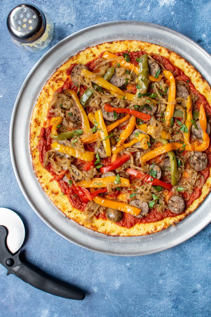Cheesy Almond Flour Pizza Crust with Sausage, Peppers and Caramelized Onions