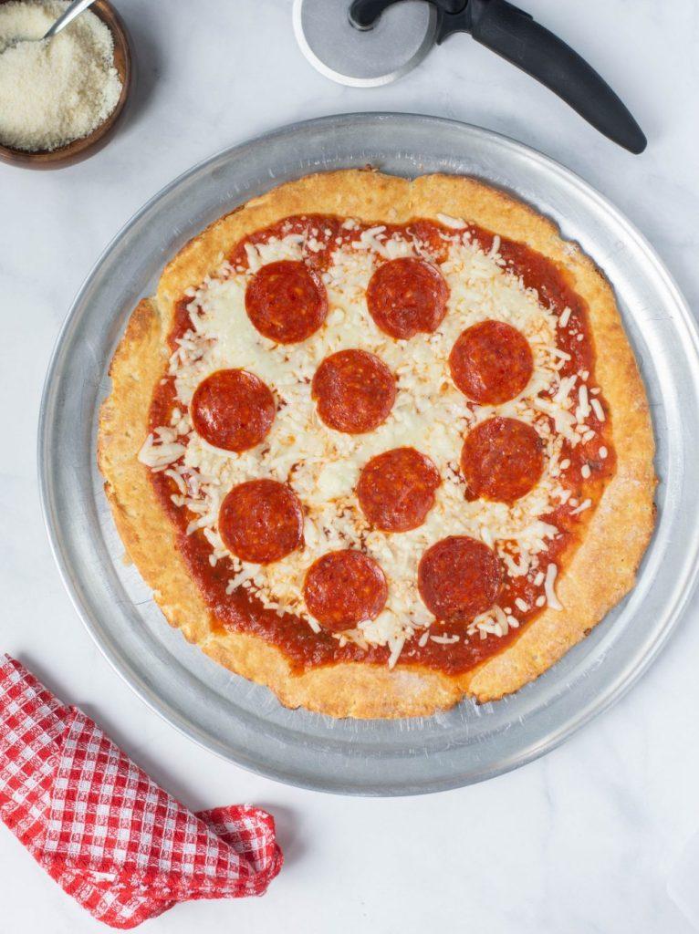 2 INGREDIENT PIZZA CRUST with marinara, mozzarella, and pepperoni