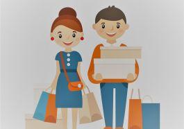 alışveriş poşetleri elinde çift illustrasyon