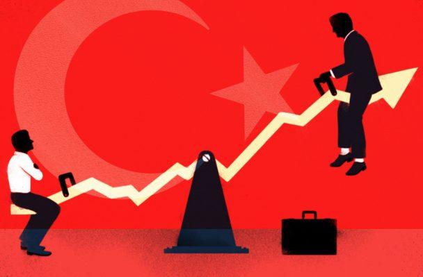 ekonmi ve finans türk bayrağı illustrasyon