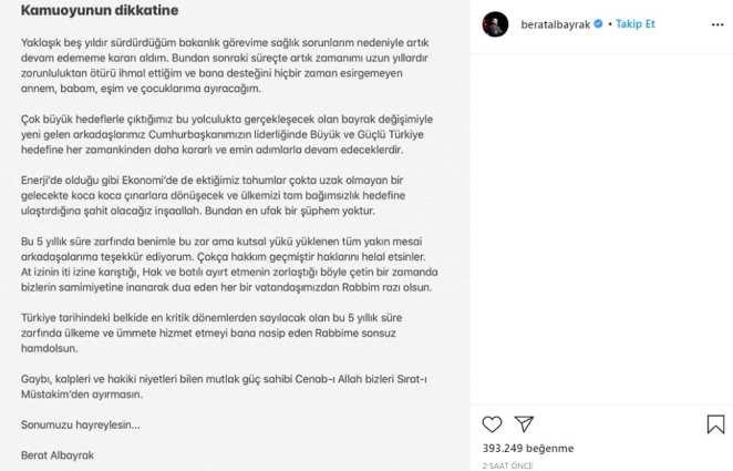 berat albayrak istifa instagram paylaşımı