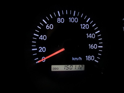 夜9時20分に自宅に戻ったら距離計は「150112」を示していた