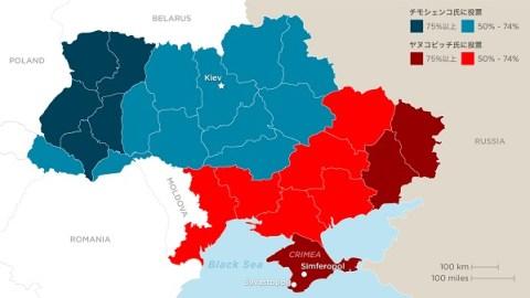 2010年大統領選投票結果(赤:ヤヌコビッチ氏に投票)