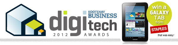 Graphic that reads: Kootenay Business digi tech awards 2012, win a Galaxy Tab