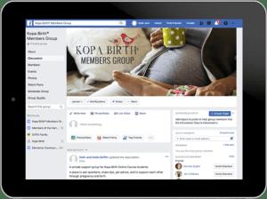 Kopa Birth Facebook Group on Tablet | Kopa Birth