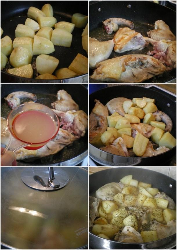 κολάζ κοτόπουλο με πατάτες λεμονάτο φωτογραφία