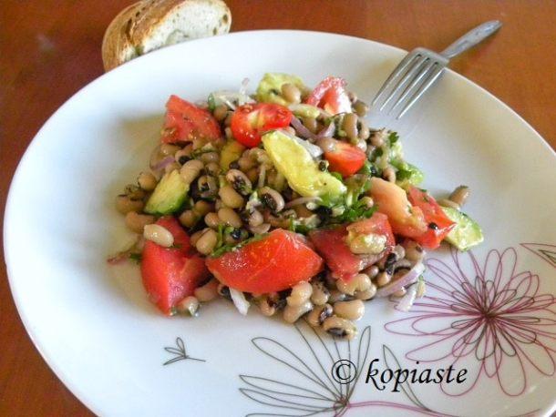 Mavrommatika with avocado