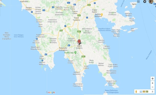 χάρτης της Λακωνίας εικόνα