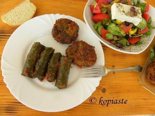 Veggie burgers - dolmades and Greek salad