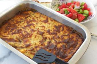 Bechamel on top of Moussakas image