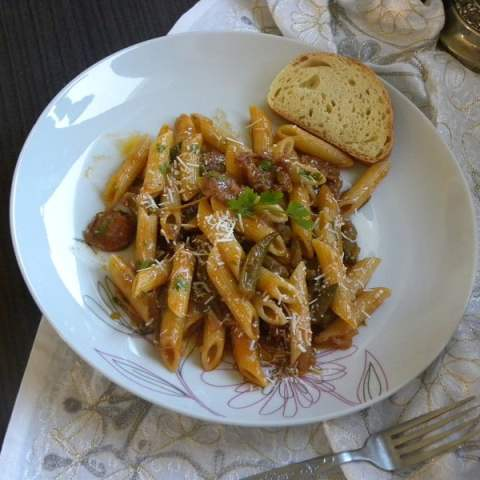 Penne with Sausage and Leftover Okra