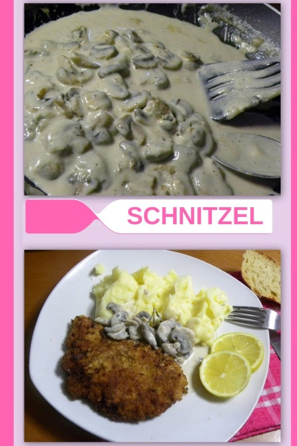 Collage Schnitzel and mushroom sauce image