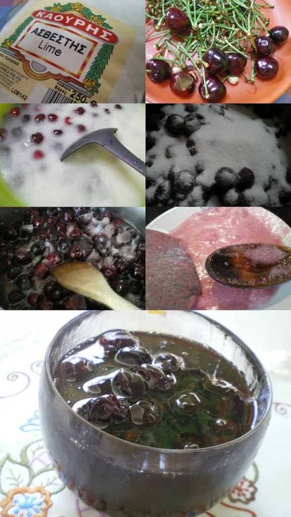 Collage preparing cherry preserve image