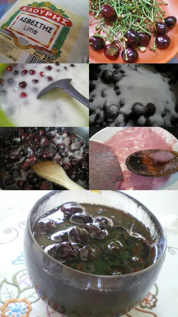 Collage preparing cherry preserve image