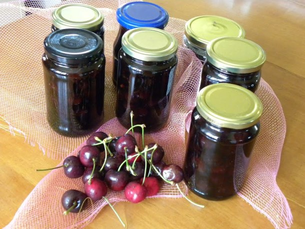 Jars of cherry preserve image