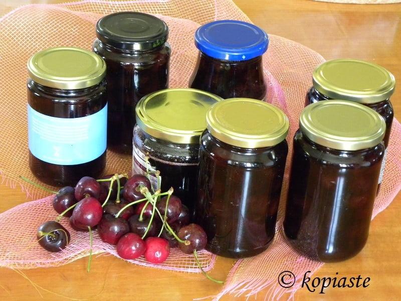 Jars of cherry preserve