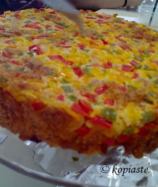 Piperopita, a Savoury Cheese and Peppers Cake