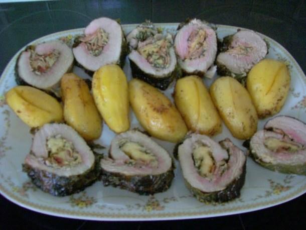 Pork roast with vine leaves image