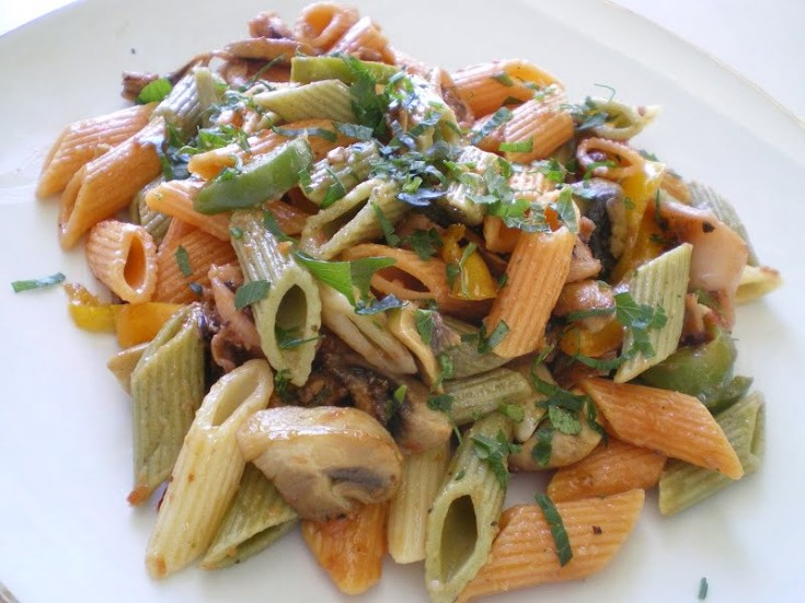 Penne with seafood medley