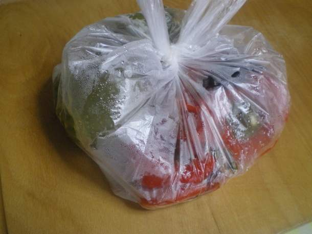 Peppers sweating in a bag image