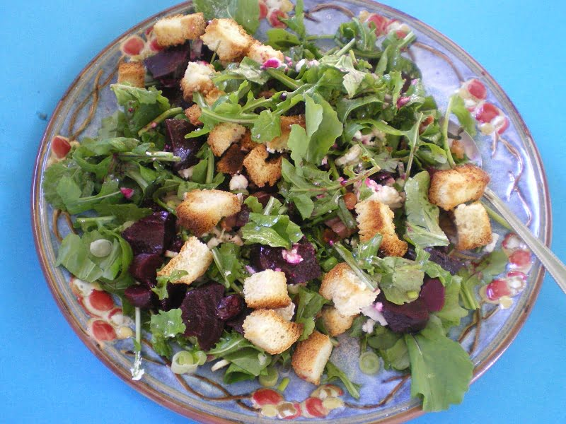 Greek style Winter Panzanella (Beet Salad)