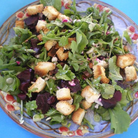 Greek style Winter Panzanella (Beet Salad)