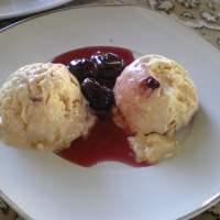 No machine Ice cream with Dulce de Leche, Cherry Compote and Greek Yoghurt