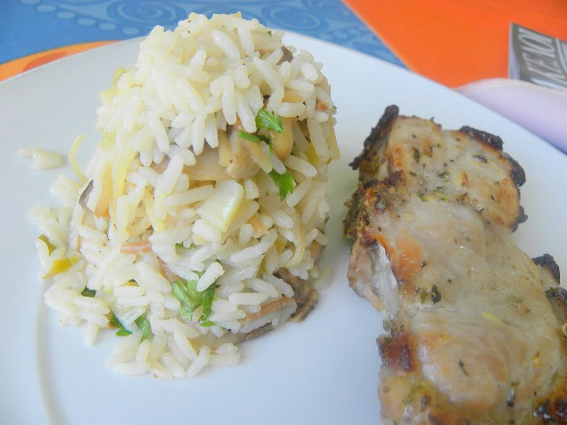 Marinated Pork Chops & Mushrooms and Spring Onions Rice Salad