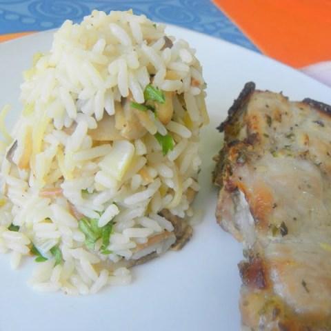 Marinated Pork Chops & Mushrooms and Spring Onions Rice Salad