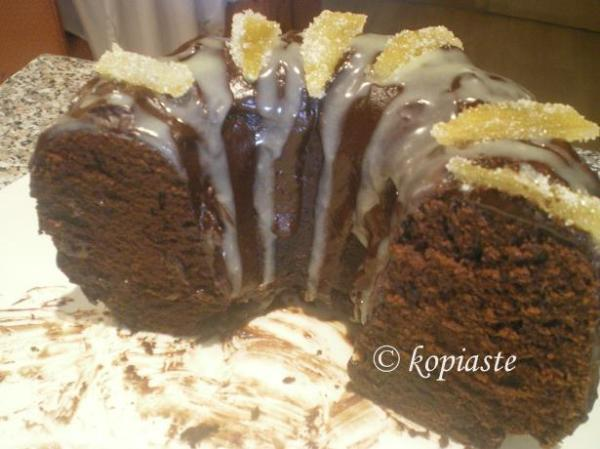 Ginger cake with candied lemon peels image