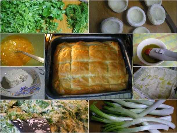 Collage artichoke pie with phyllo image