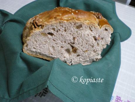 Christopsomo Christmas bread cut image