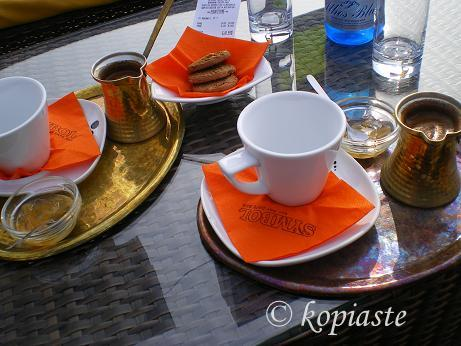 Greek coffee on the tray image