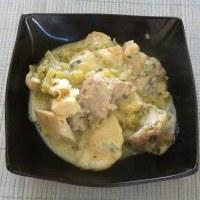 Kolokassi (taro) and Pork in Avgolemono Sauce
