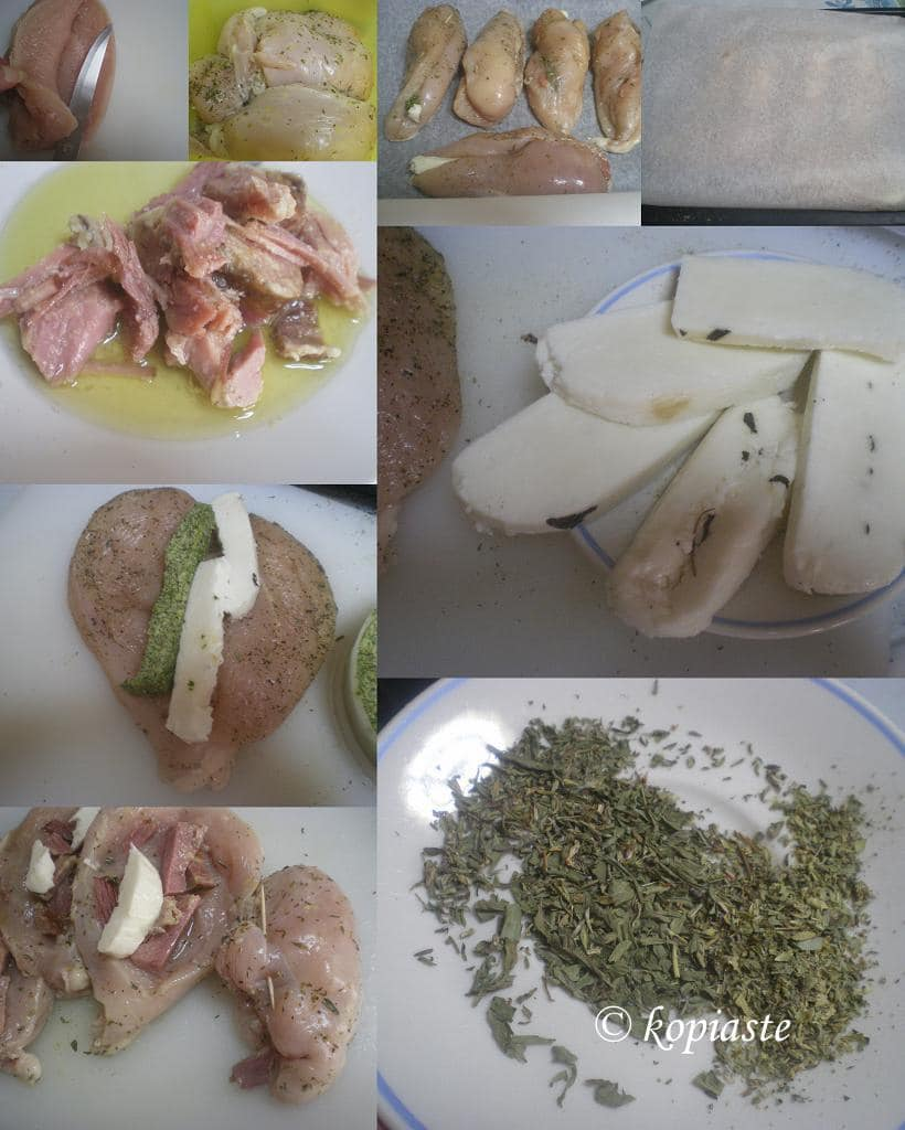 Ciollage chicken breasts with mint pesto and halloumi