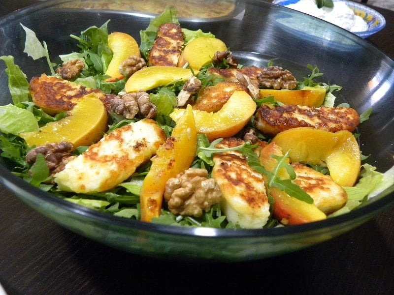 Rocket (Arugula) Salad with Halloumi, Walnuts and Summer Fruit