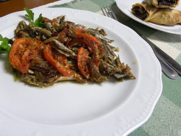 Baked anchovies gavros plaki photo