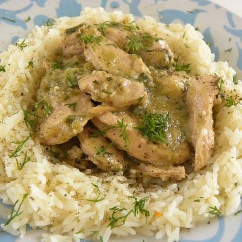 Chicken with Leeks, Greek Yoghurt and Kafkalithres Pesto
