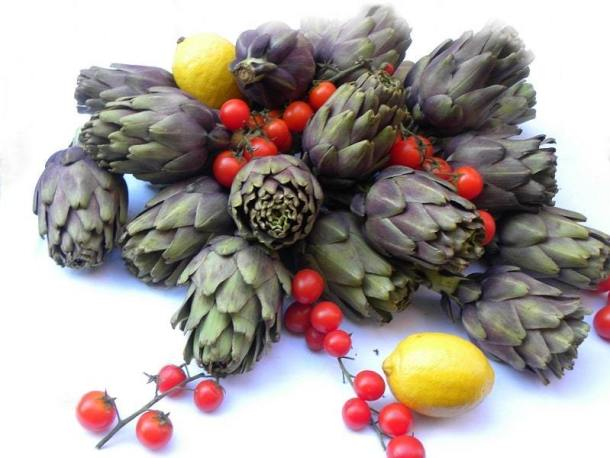 artichokes and cherry tomatoes image