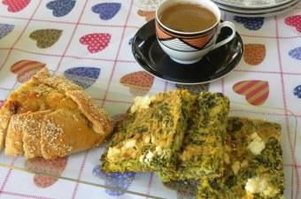 Coffee and Flaouna Tyropita and Spanakopita Plastos image