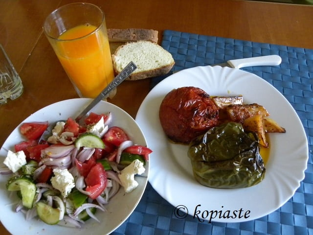 Gemista me Loukanika (Greek Stuffed Vegetables with Sausage)