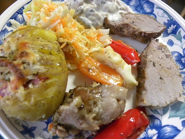 gkioulpassi and hasselback potatoes and muchrooms ala creme
